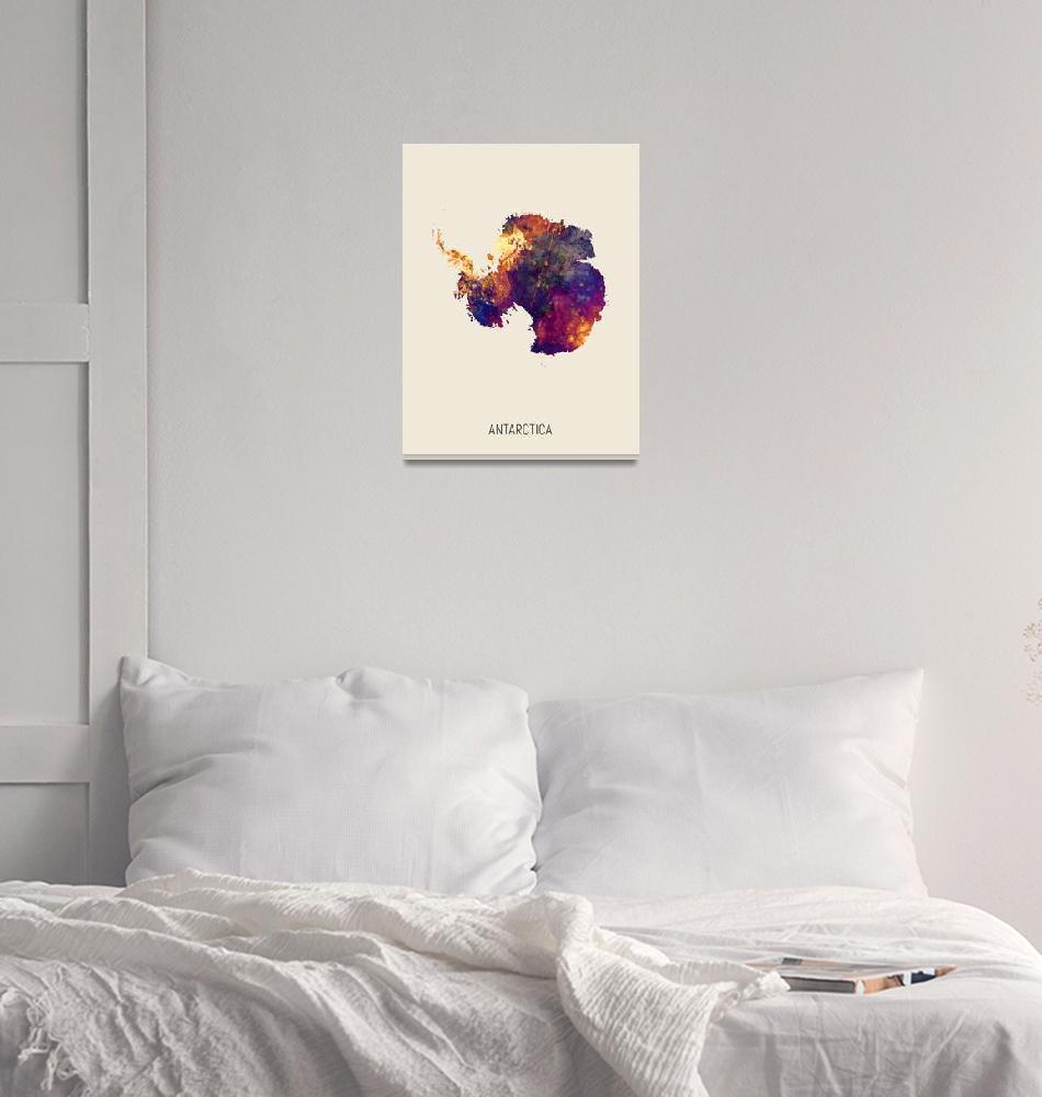 """Antarctica Watercolor Map""  (2019) by ModernArtPrints"