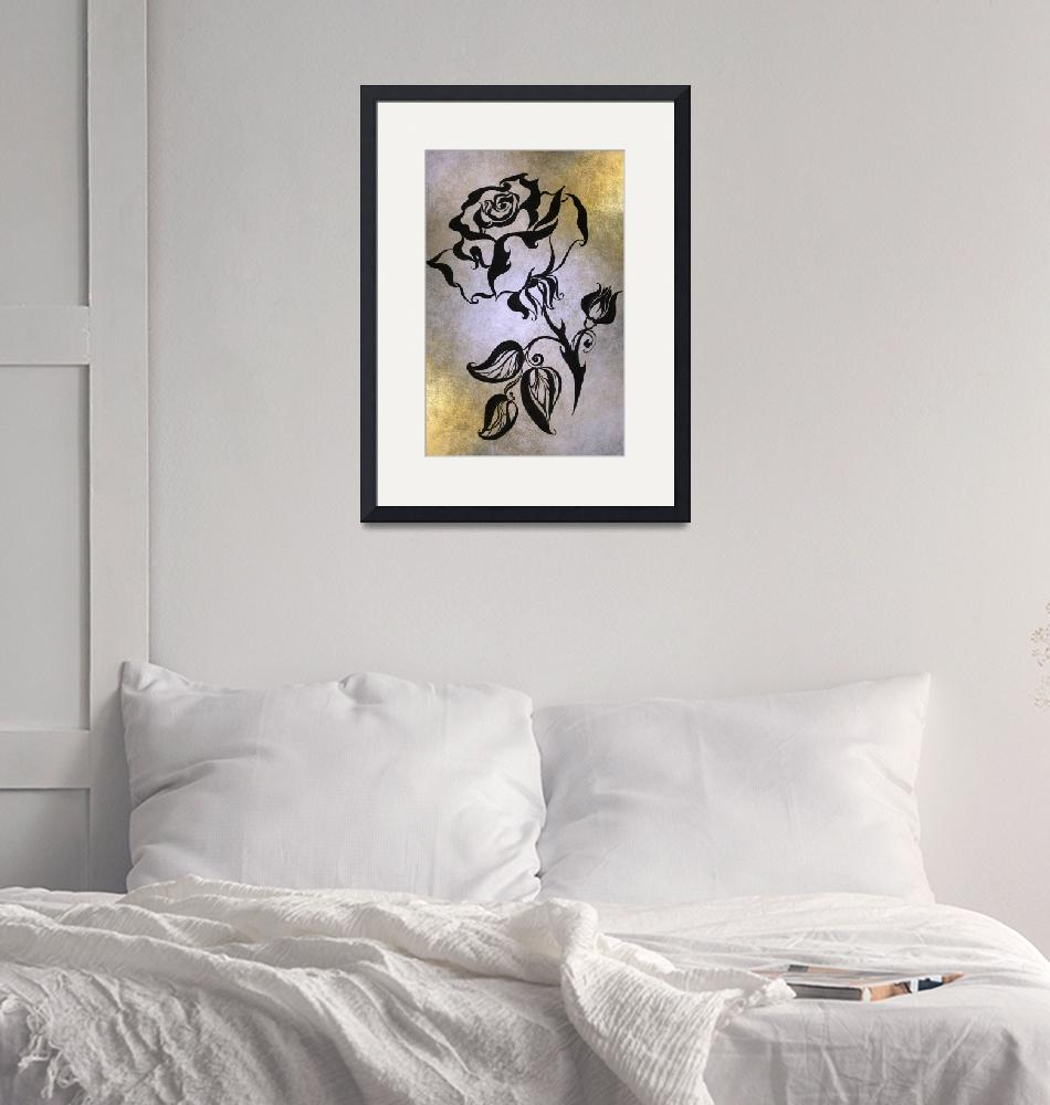 """""""Ink Drawing Chinese Rose Golden""""  (1980) by JennyRainbow"""