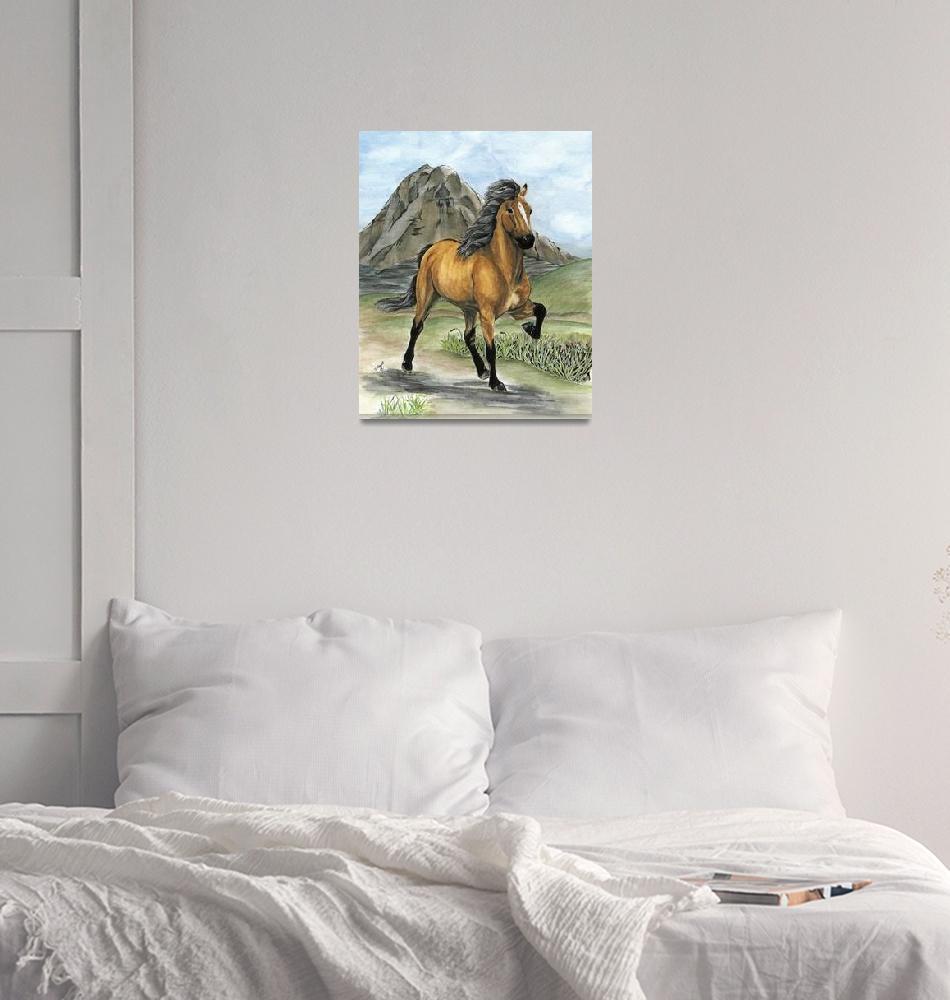 """""""Golden Tolt Icelandic Horse""""  (2008) by inkandbrushcreations"""