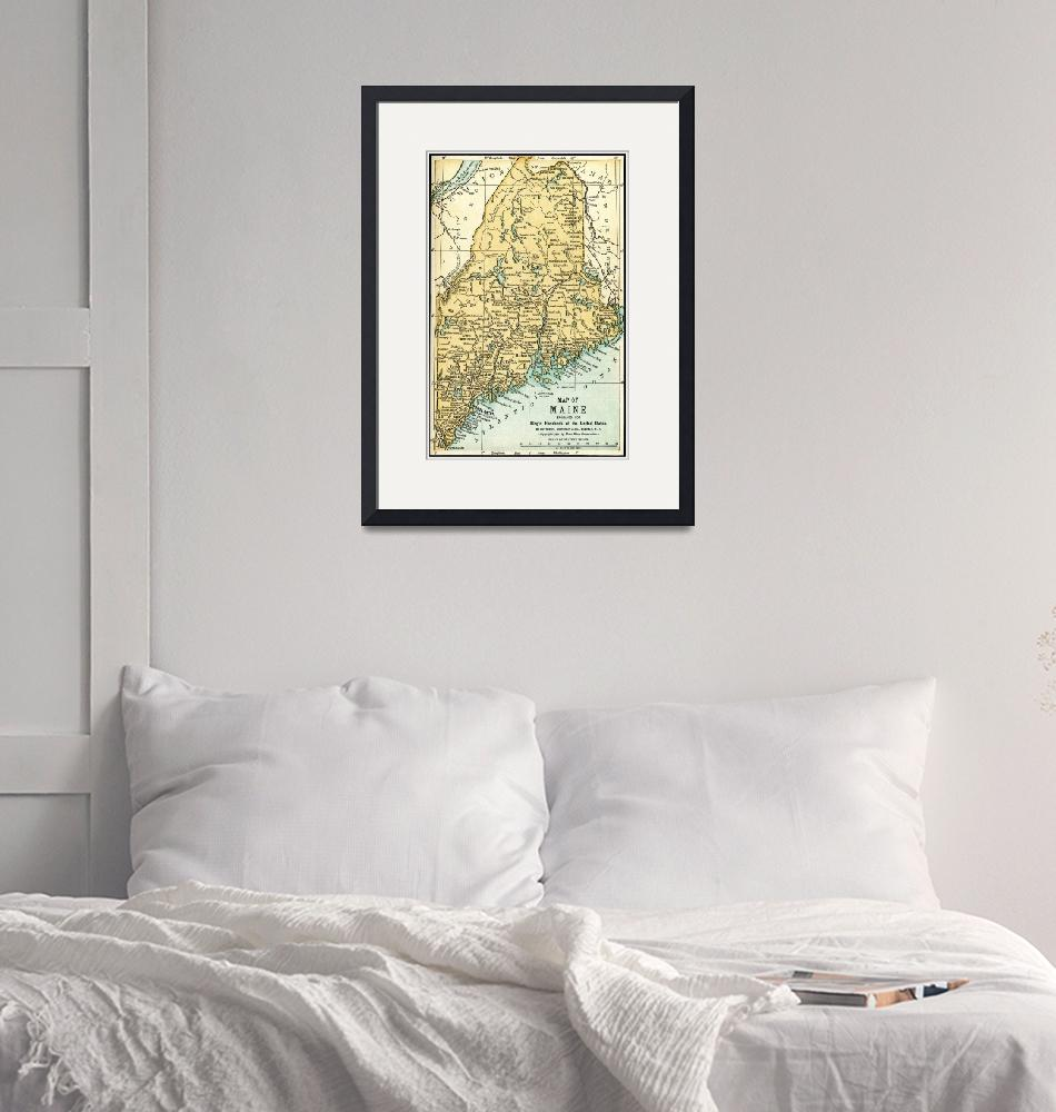 """Maine Antique Map 1891""  (2015) by WilshireImages"