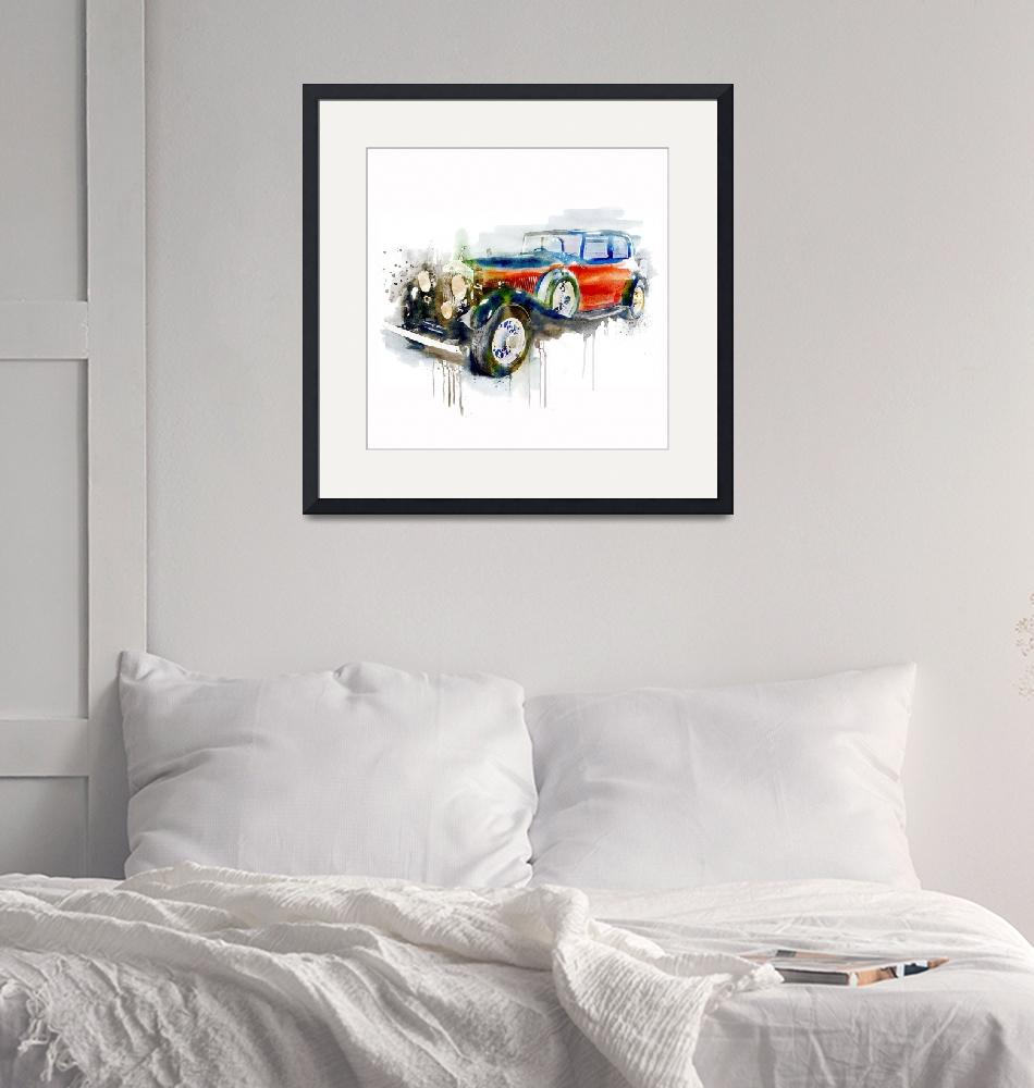 """""""Vintage Automobile Watercolor Painting""""  (2018) by MarianVoicu"""