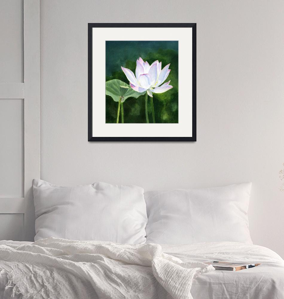 """White Lotus blossom with dark abstract background""  (2019) by Pacific-NW-Watercolors"