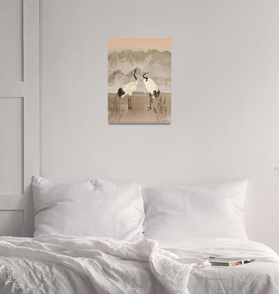 """Wintering Manchurian Cranes""  (2018) by spadecaller"
