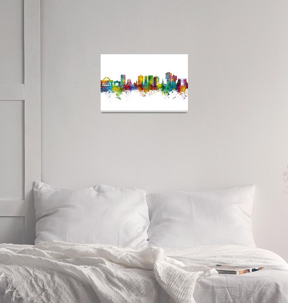 """Accra Ghana Skyline""  (2021) by ModernArtPrints"