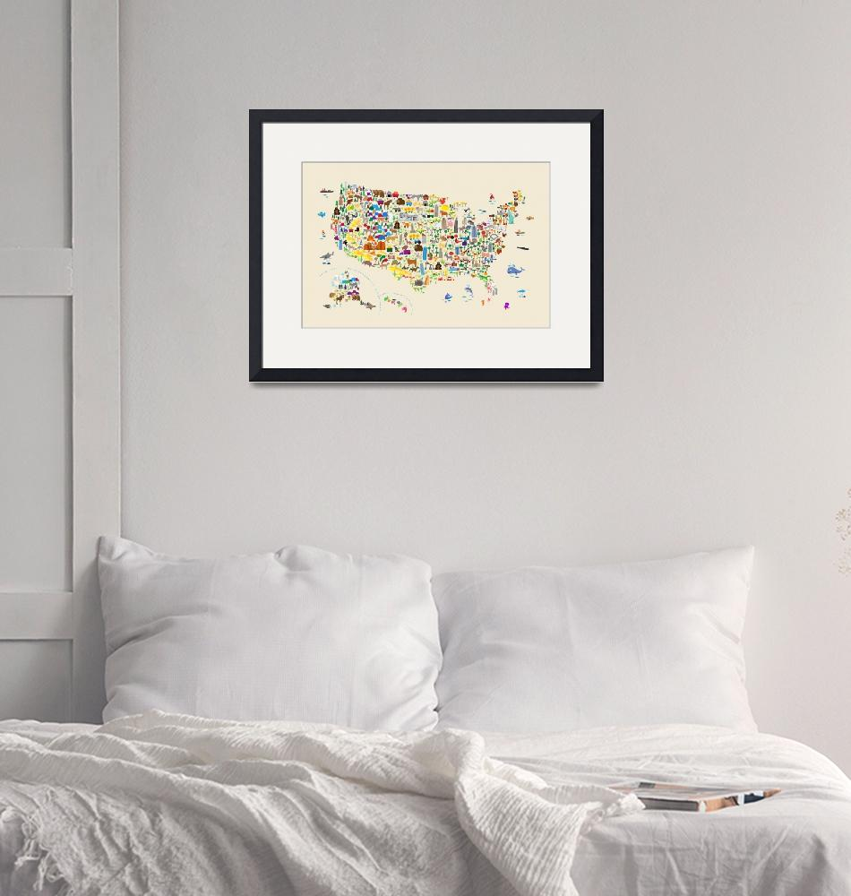 """Animal Map of United States for children and kids""  (2018) by ModernArtPrints"