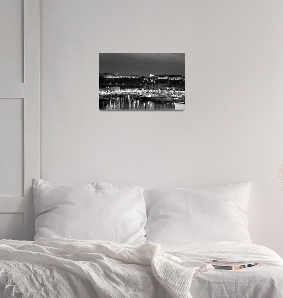 """black and white monaco palace and bay""  (2010) by chinagirlsz"