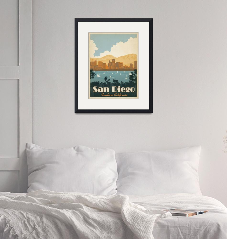 """""""San Diego Retro Travel Poster""""  by artlicensing"""
