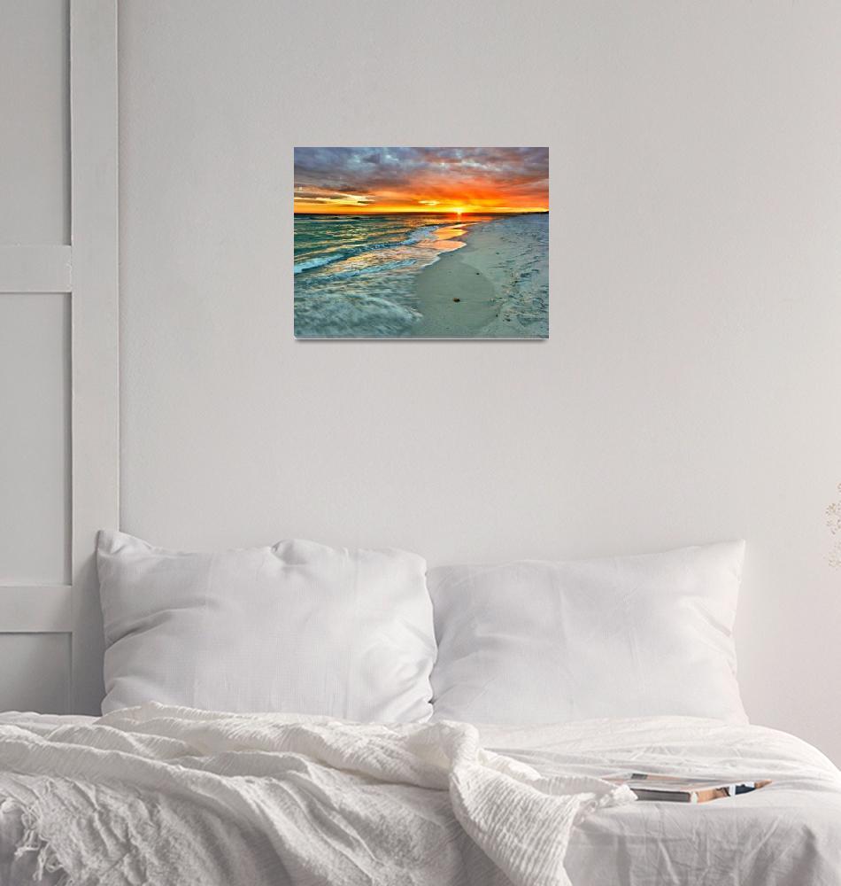 """Orange Sunset Green Waves Beach Fine Art Prints""  (2010) by eszra"