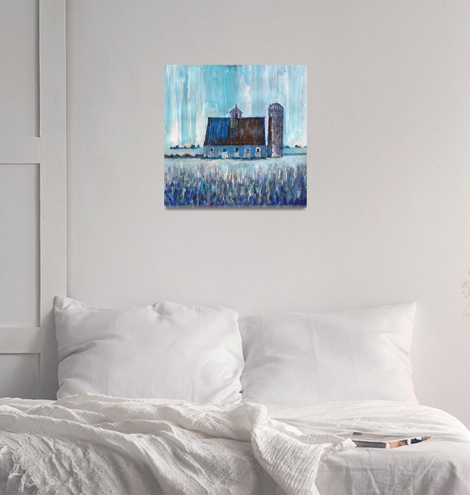 """Blue Country Barn and Silo Farm Art""  (2018) by RDRiccoboni"
