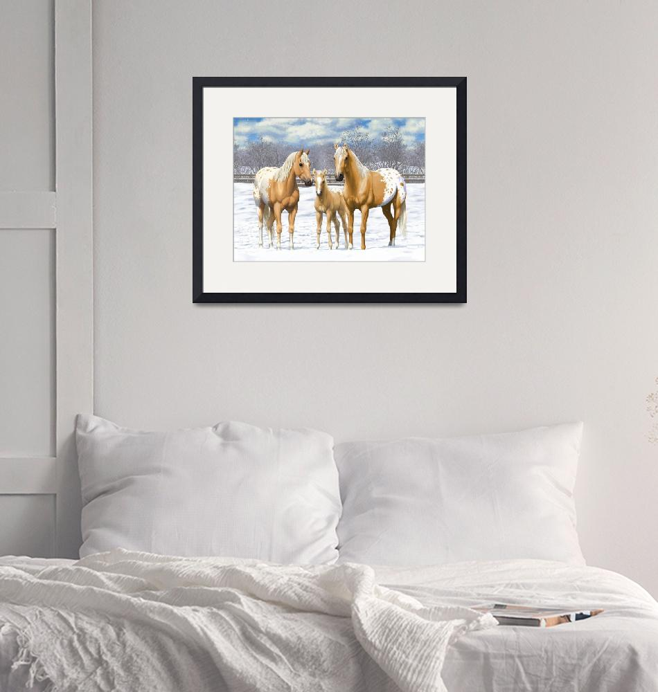 """""""Palomino Appaloosa Horses In Snow""""  (2017) by csforest"""