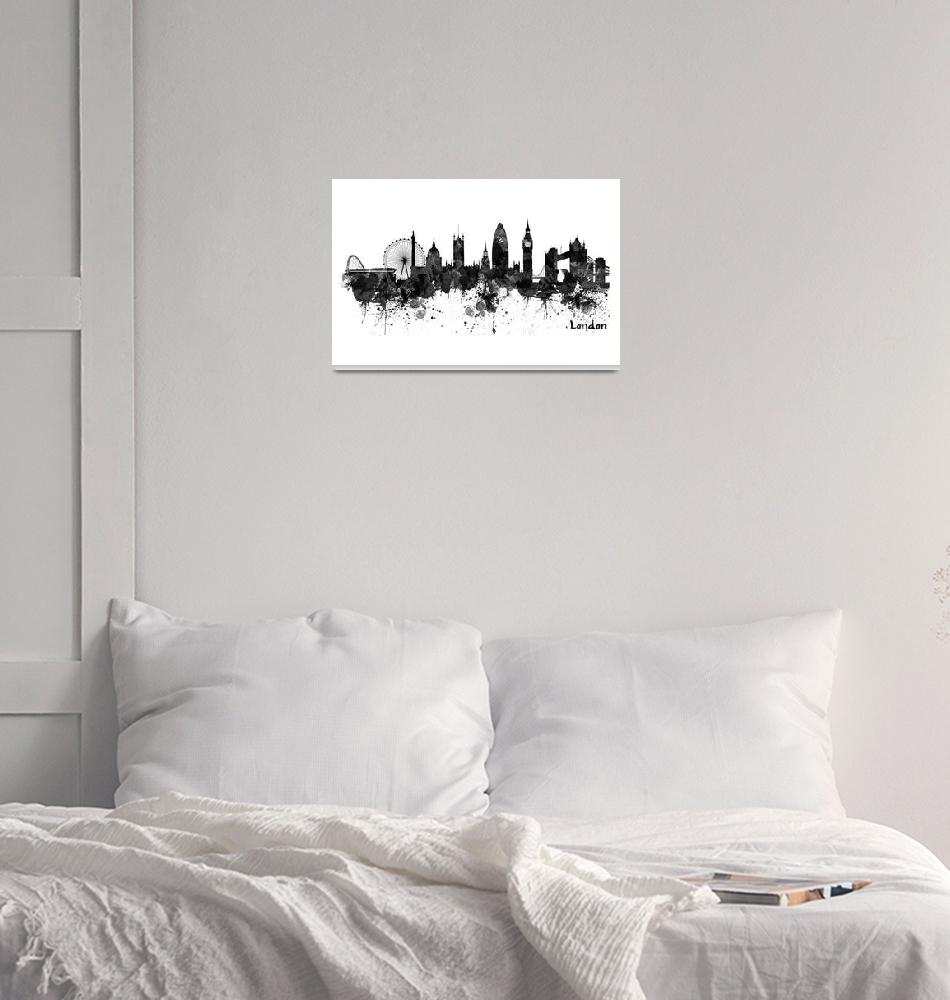 """London Black And White Watercolor Skyline Silhouet""  (2019) by MarianVoicu"