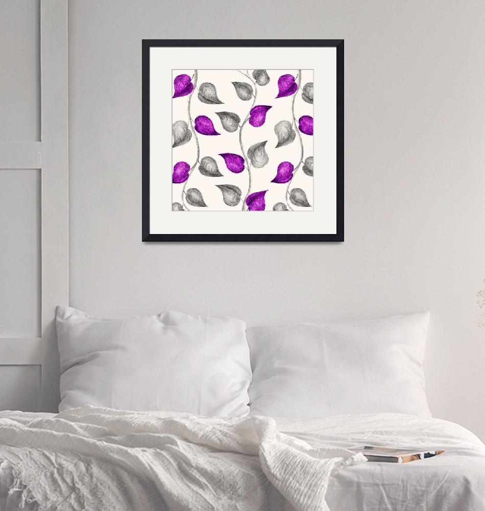 """Purple & Grey Sketched Leaves""  (2019) by ImageMonkey"