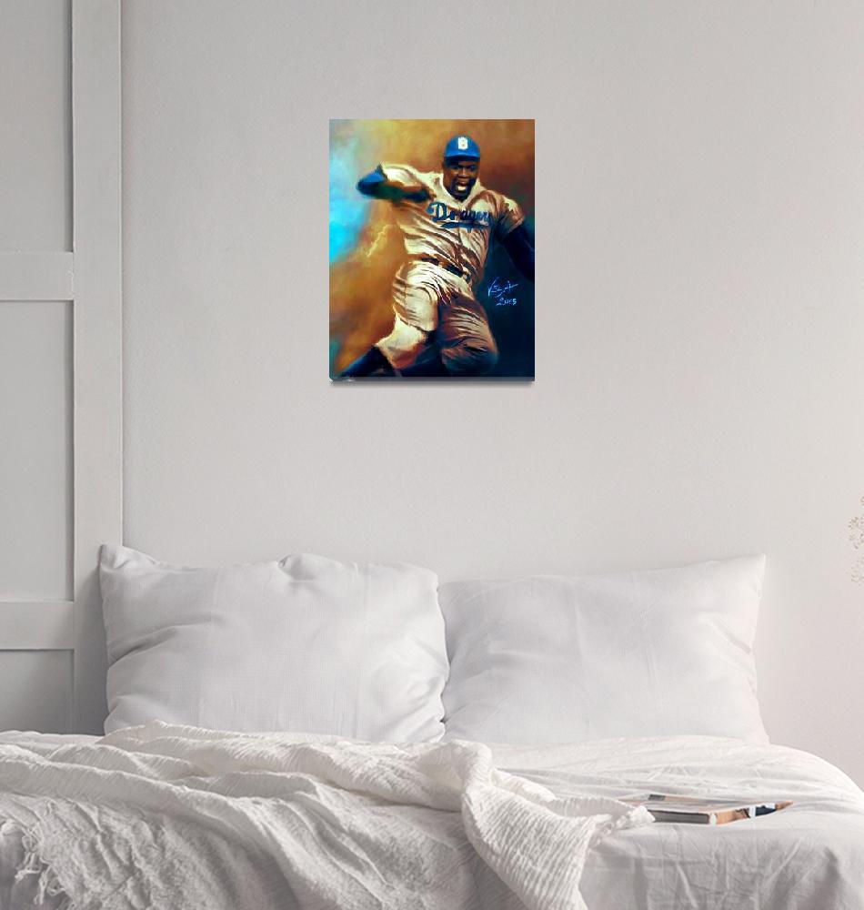 """Jackie Robinson Brooklyn Dodgers MLB Steal""  (2013) by artofvela"
