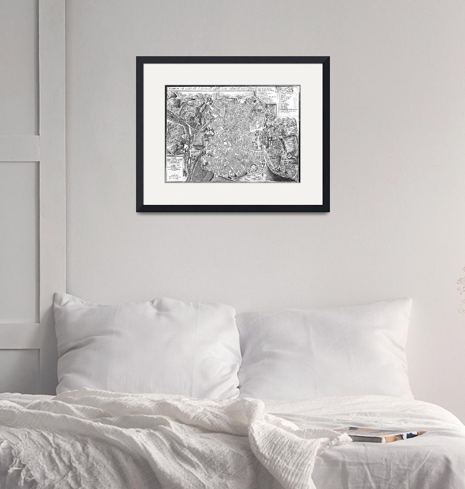 """""""Vintage Map of Madrid Spain (1702) BW""""  by Alleycatshirts"""