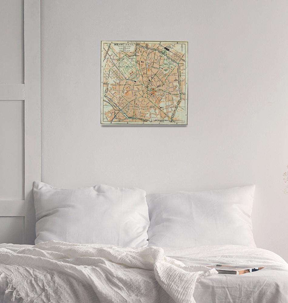 """Vintage Map of Milan Italy (1911)""  by Alleycatshirts"