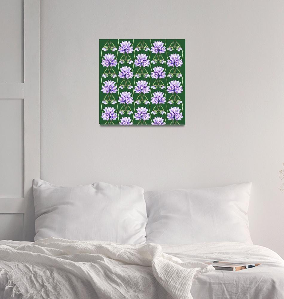 """Purple Flowers On The Green Field Pattern""  (2015) by IrinaSztukowski"