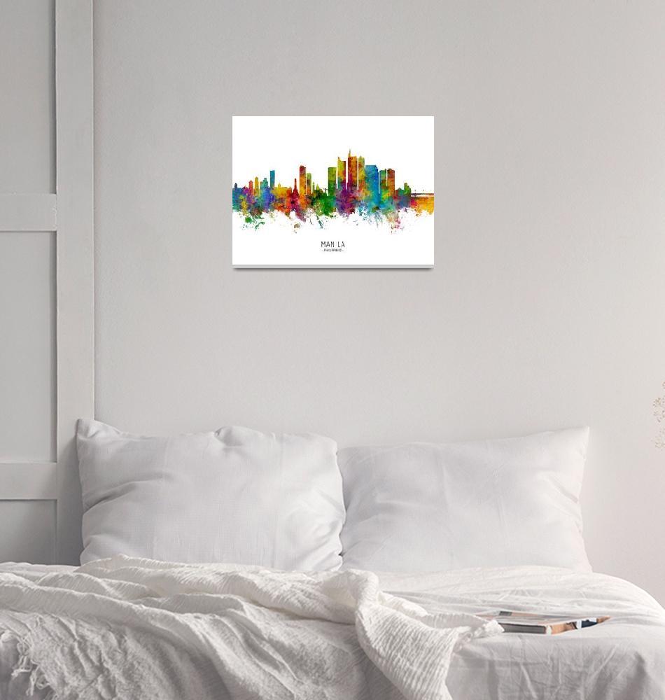 """Manila Philippines Skyline""  (2019) by ModernArtPrints"