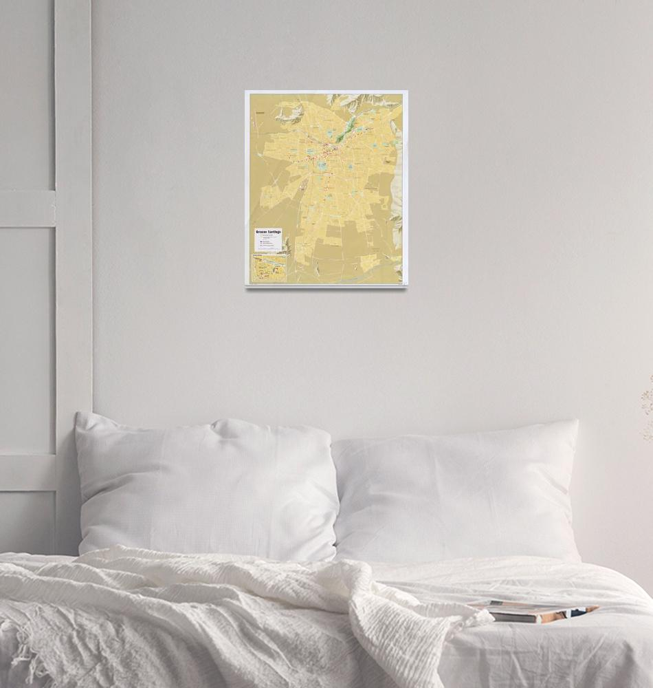 """Santiago Chile Map (1987)""  by Alleycatshirts"
