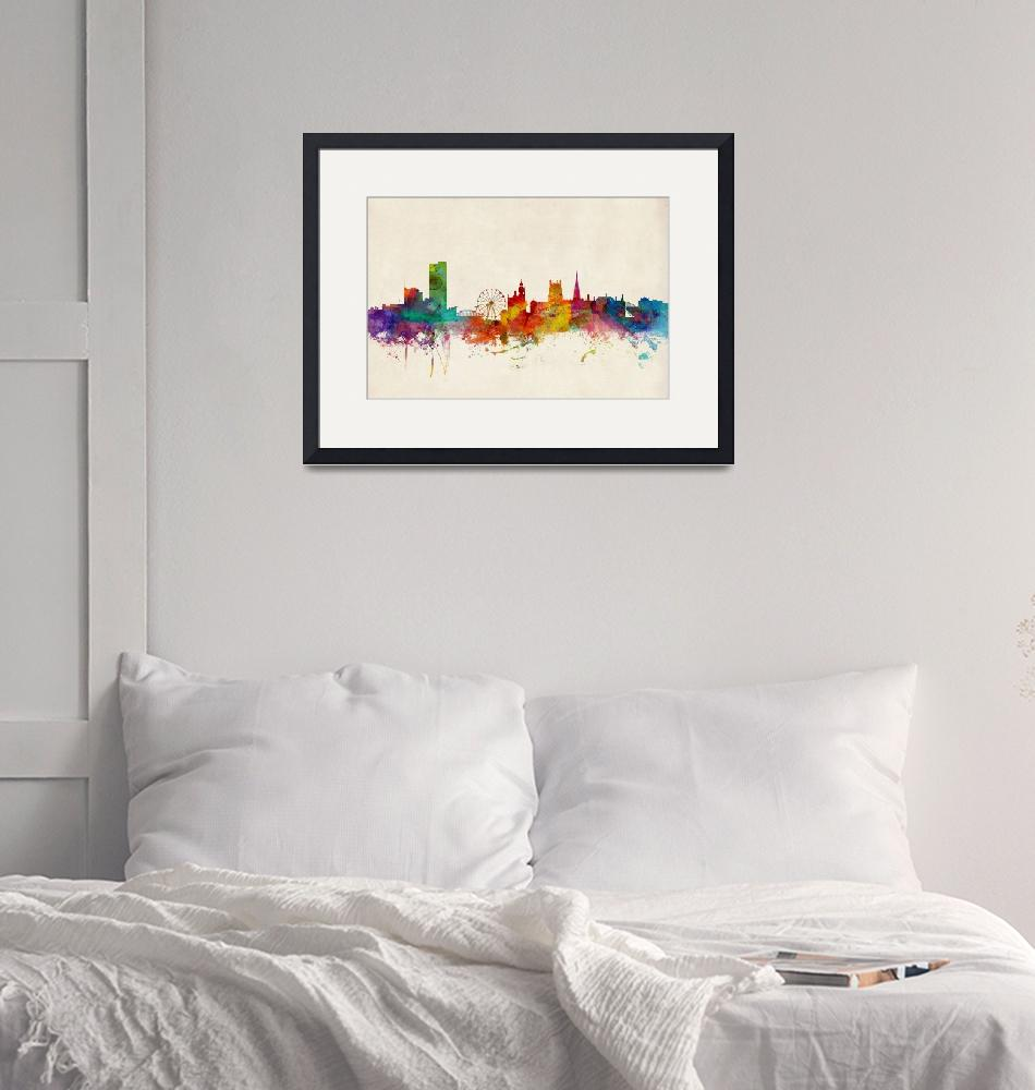 """Sheffield England Skyline""  (2014) by ModernArtPrints"