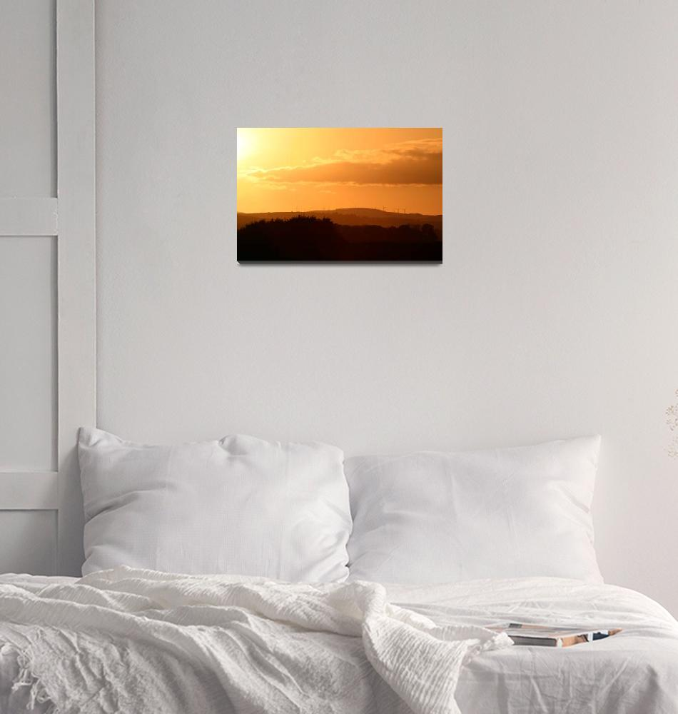 """""""Sunset over windfarm""""  (2006) by Scotiaweb"""