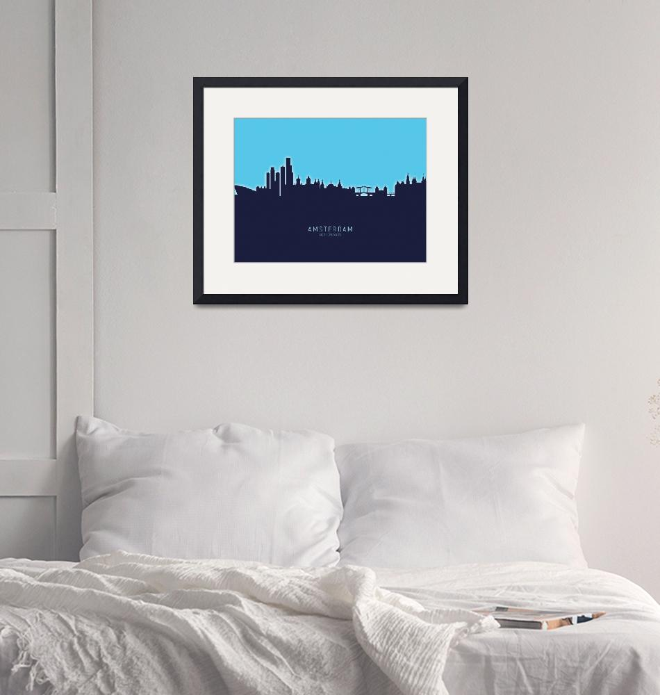 """Amsterdam The Netherlands Skyline""  (2020) by ModernArtPrints"