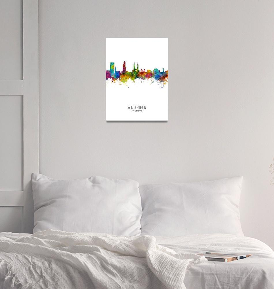 """Winterthur Switzerland Skyline""  (2018) by ModernArtPrints"