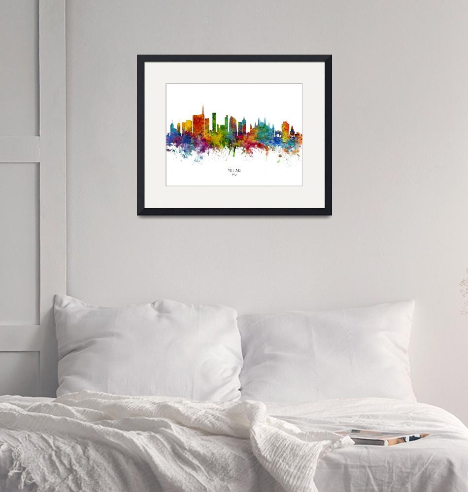 """Milan Italy Skyline""  (2019) by ModernArtPrints"
