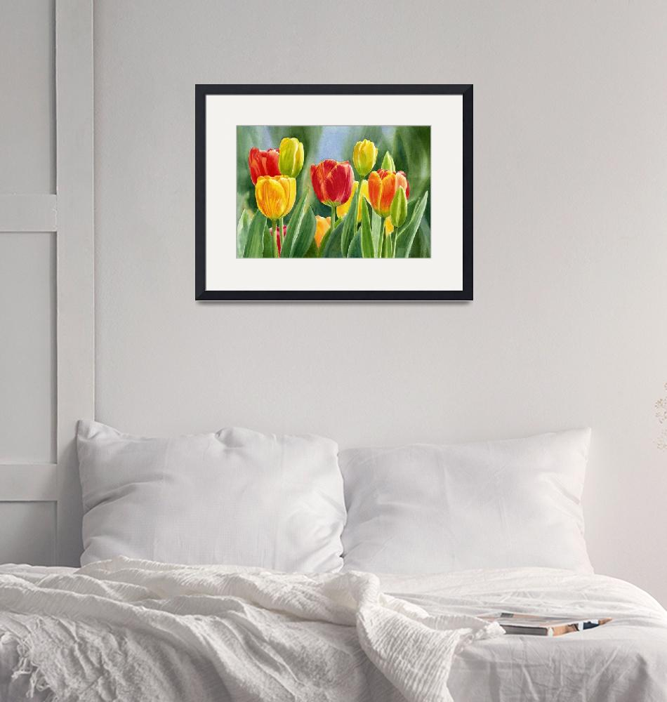 """""""Orange and Yellow Tulips with Background"""" (2013) by Pacific-NW-Watercolors"""