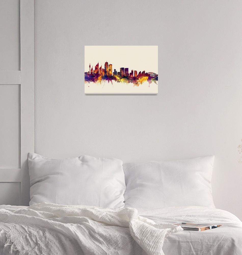 """Sydney Australia Skyline""  (2015) by ModernArtPrints"