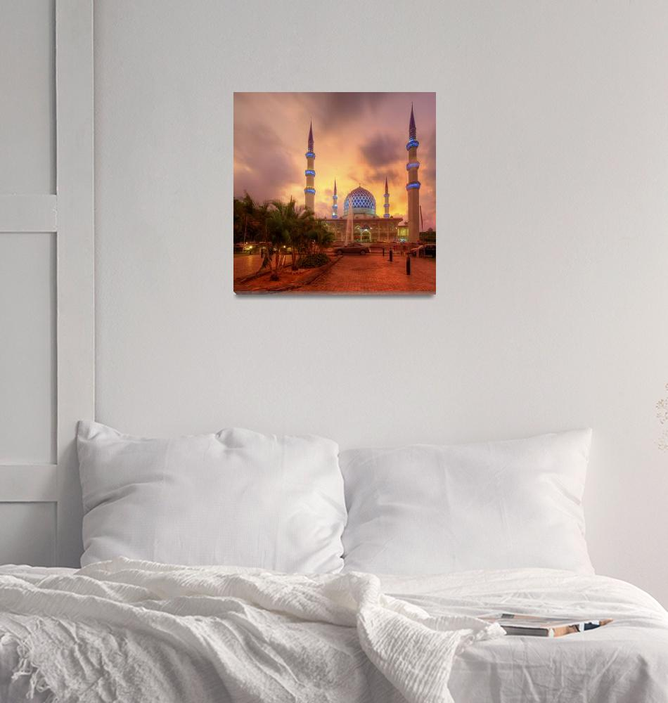 """""""Colours Collide - Shah Alam Mosque at Sunset""""  (2013) by hafizismail"""