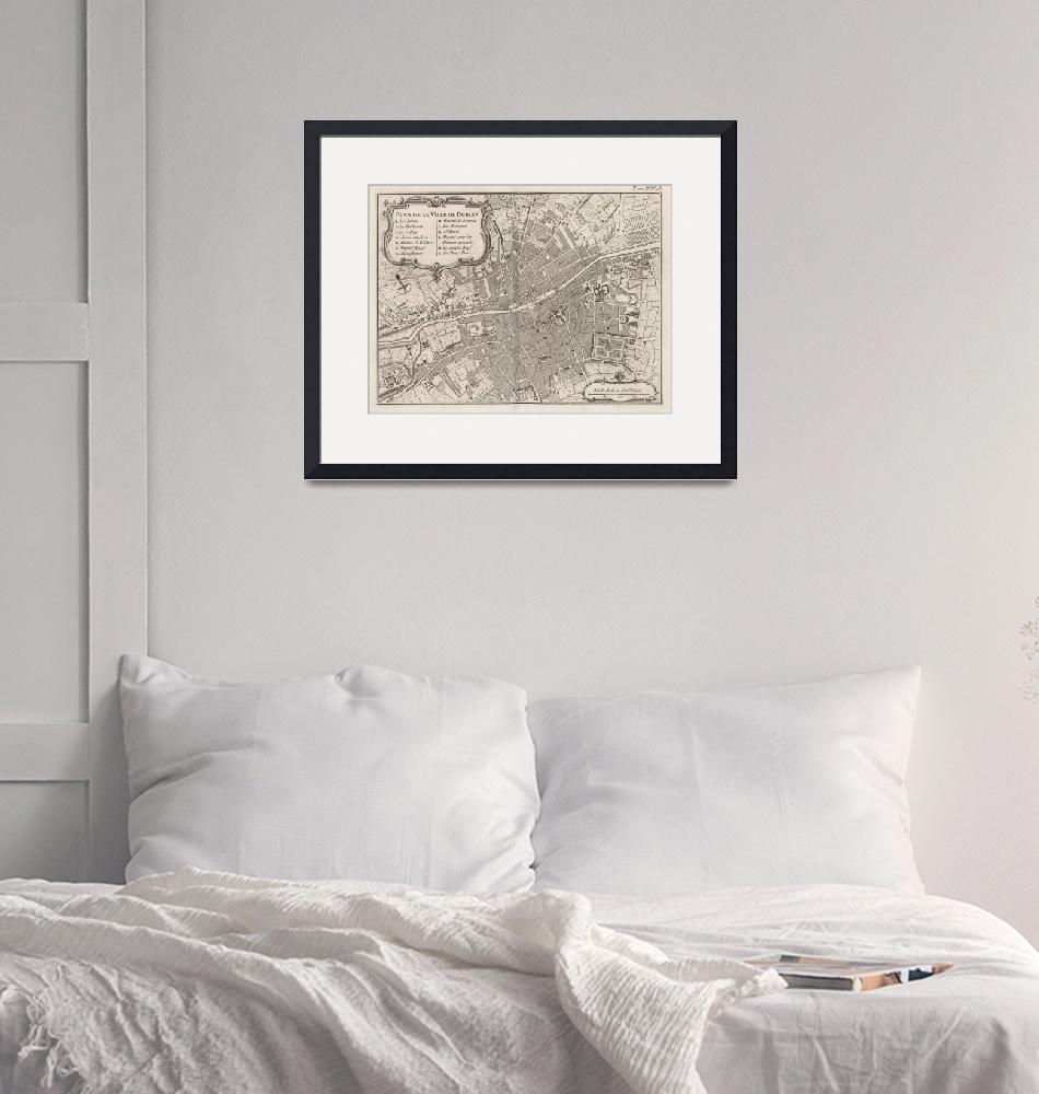 """""""Vintage Map of Dublin Ireland (1764)""""  by Alleycatshirts"""