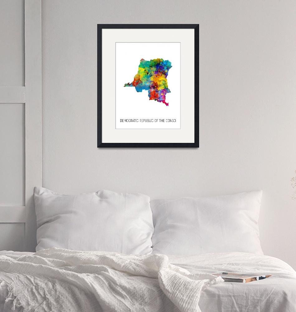 """Democratic Republic of the Congo Watercolor Map""  (2019) by ModernArtPrints"