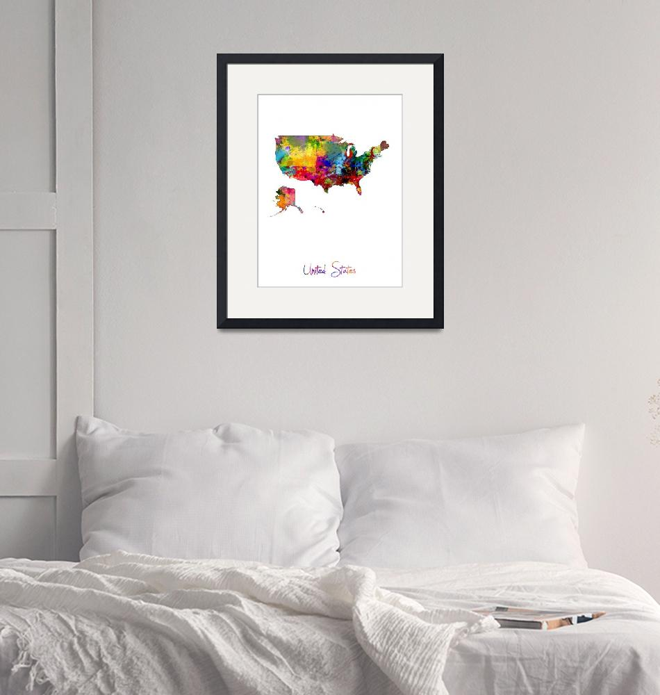 """""""United States Watercolor Map""""  (2016) by ModernArtPrints"""