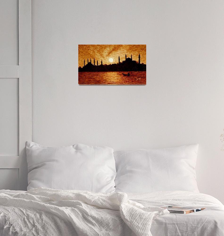 """Sunset over Istanbul original coffee painting""  (2011) by georgeta-blanaru"