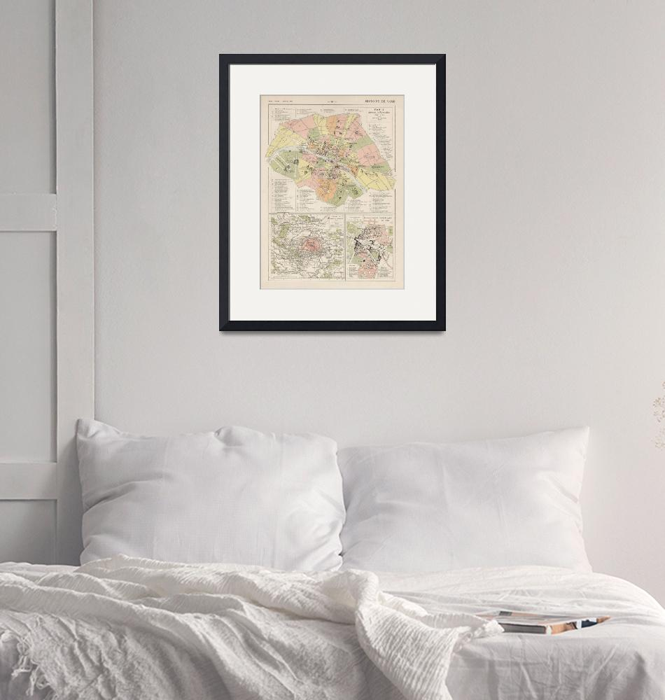 """""""Vintage Map of Paris France (1912)""""  by Alleycatshirts"""