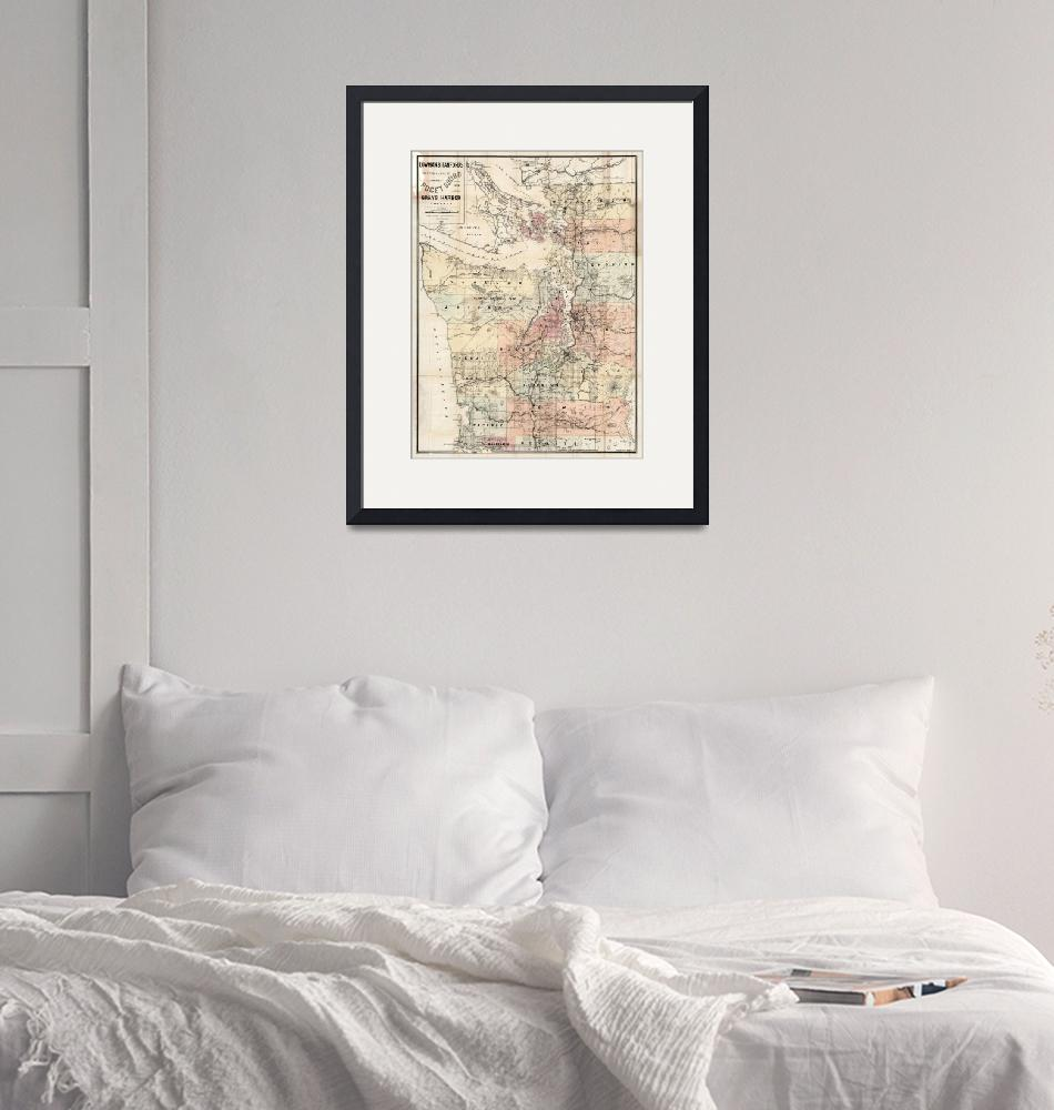 """""""Vintage Map of The Puget Sound (1891)""""  by Alleycatshirts"""