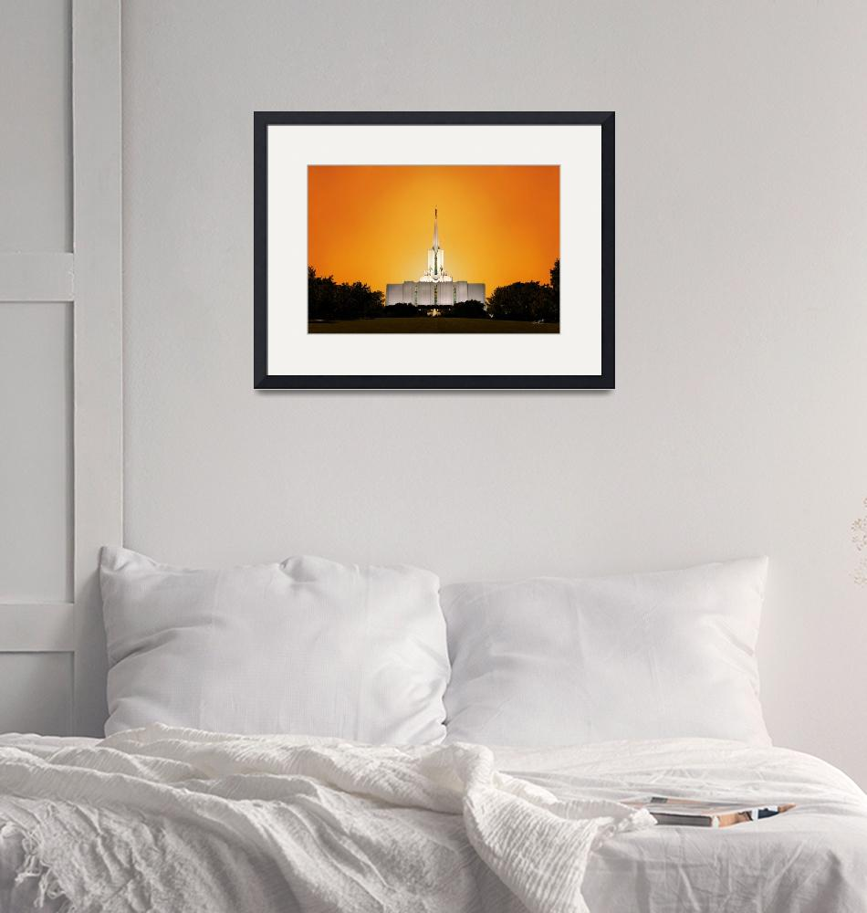 """""""20x30 Yellow Sunset Jordan River Temple""""  by lightvoyages"""