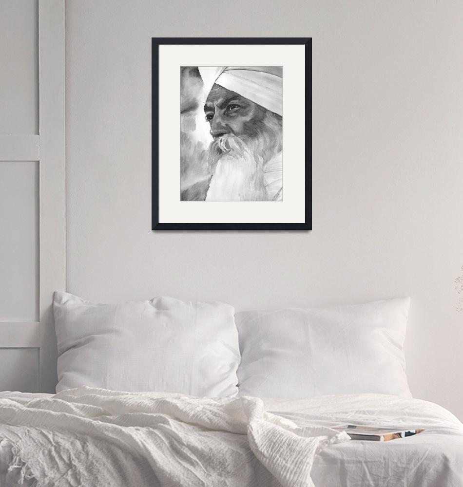 """Yogi Bhajan Focused Watercolor - B&W""  by SikhPhotos"