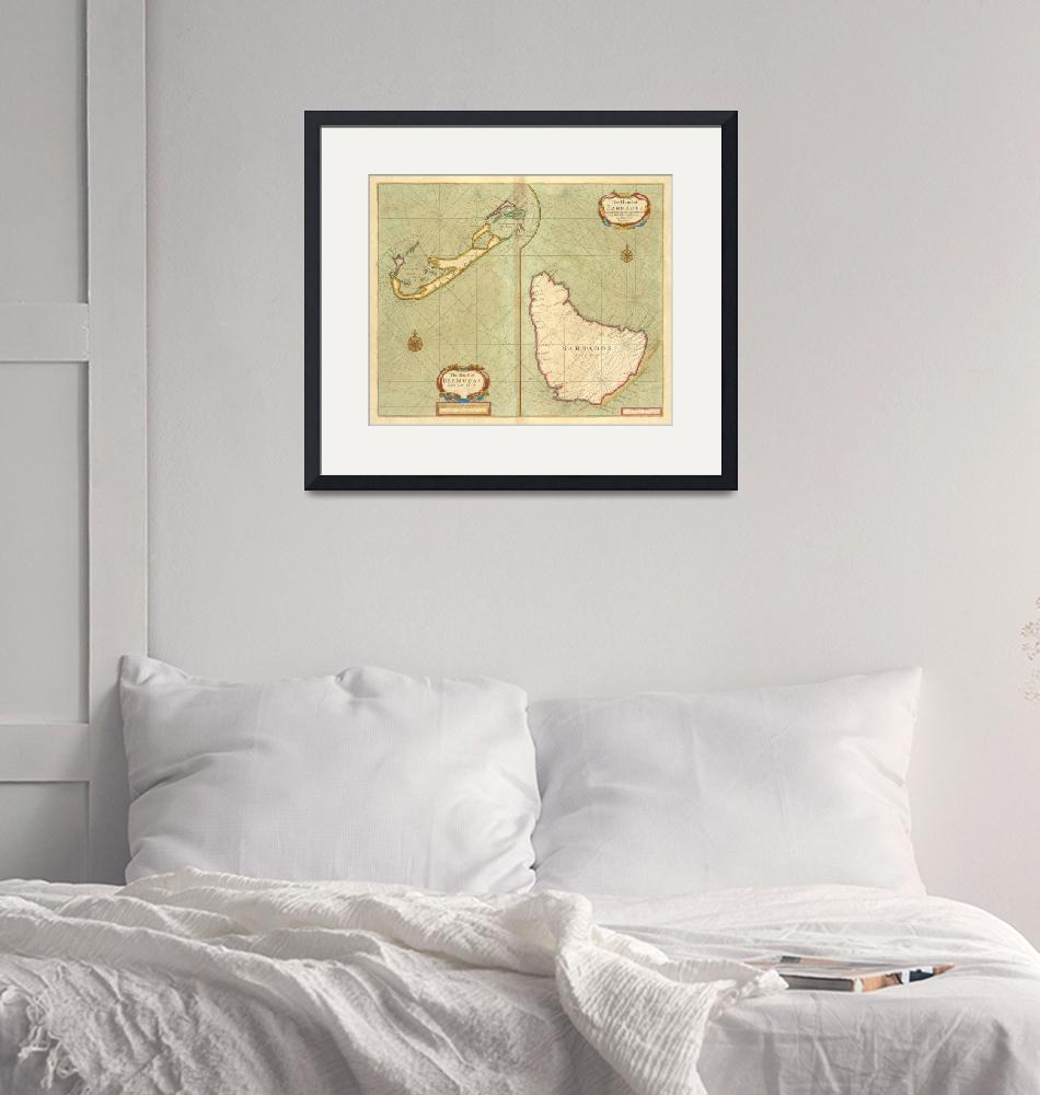 """Vintage Map of Bermuda & Barbados (1707)""  by Alleycatshirts"