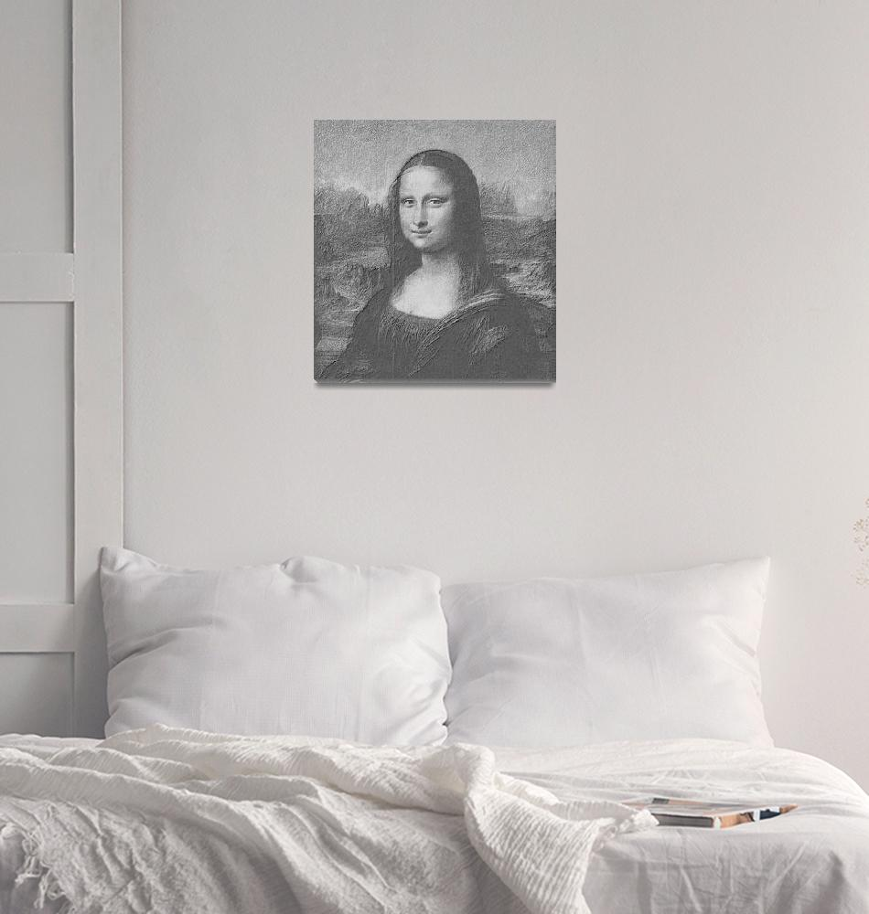 """Mona Lisa Cropped black & white""  (2013) by TheNorthernTerritory"