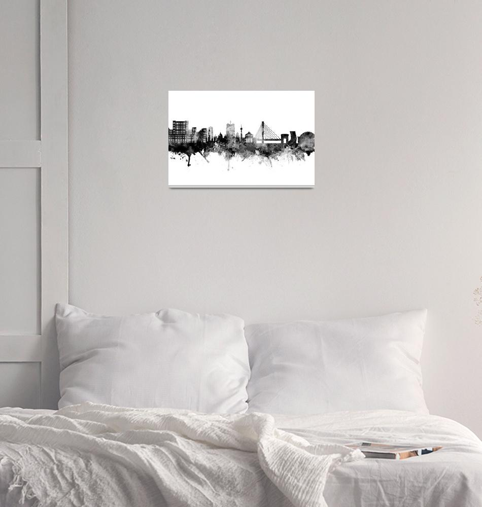 """Bucharest Romania Skyline""  (2018) by ModernArtPrints"