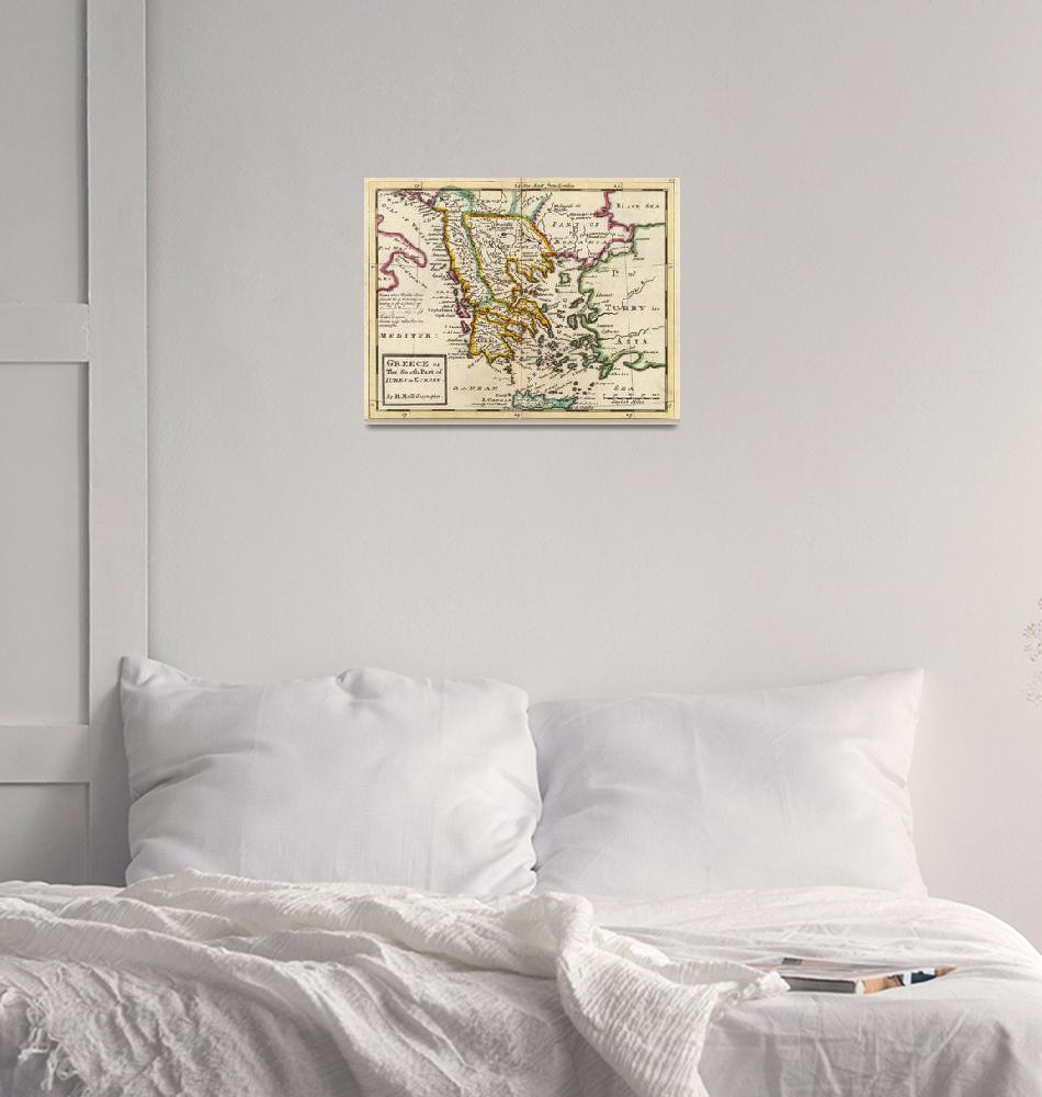 """""""Vintage Map of Greece (1736)""""  by Alleycatshirts"""