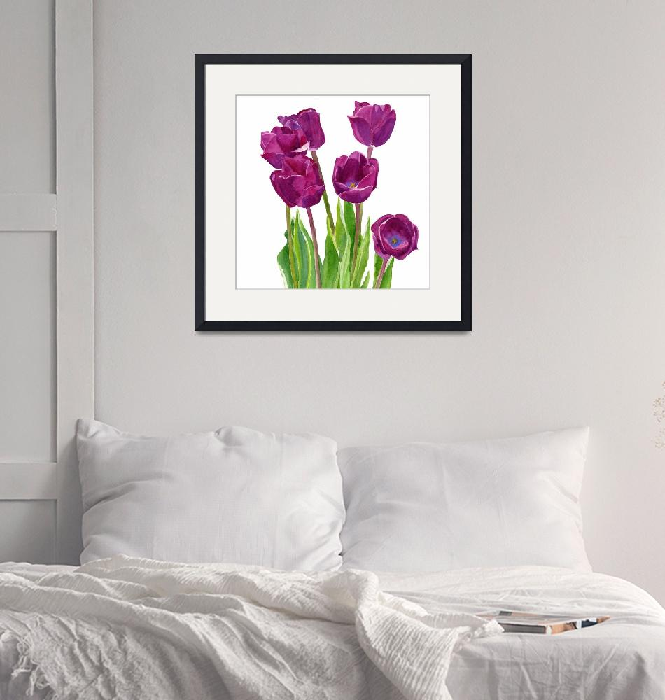 """""""Purple Tulips White Background square design""""  (2015) by Pacific-NW-Watercolors"""