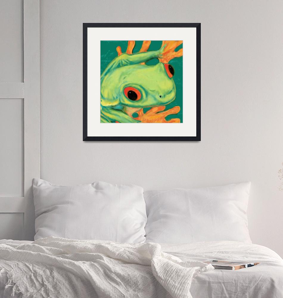 """""""frog Stylised Pop Art Drawing Potrait Poster""""  (2013) by visualharbour"""