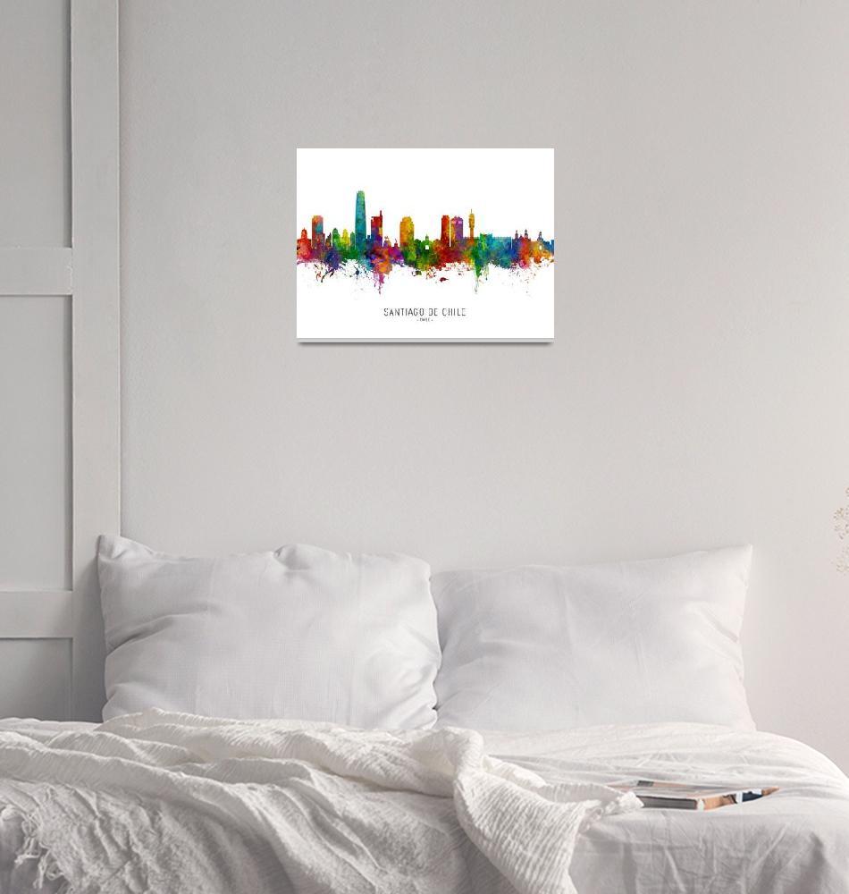 """Santiago de Chile Skyline""  (2019) by ModernArtPrints"