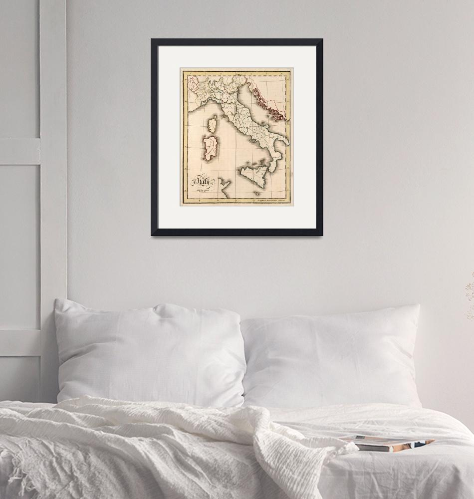 """""""Vintage Map of Italy (1815)""""  by Alleycatshirts"""