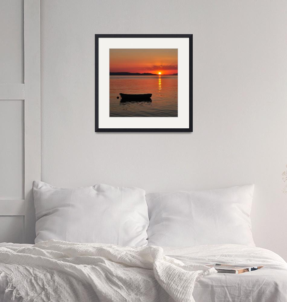 """""""Boat on the sea at sunset""""  (2012) by creative_photography"""