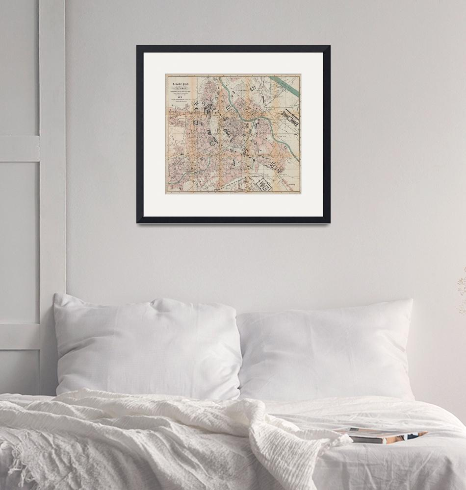 """Vintage Map of Vienna Austria (1872)""  by Alleycatshirts"