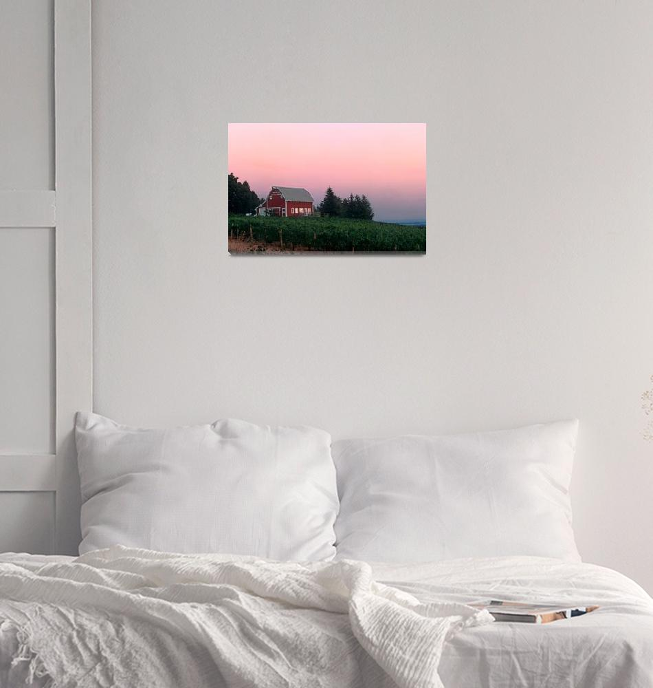 """""""Red Barn, Pink Sunset""""  by winecountrycreations"""