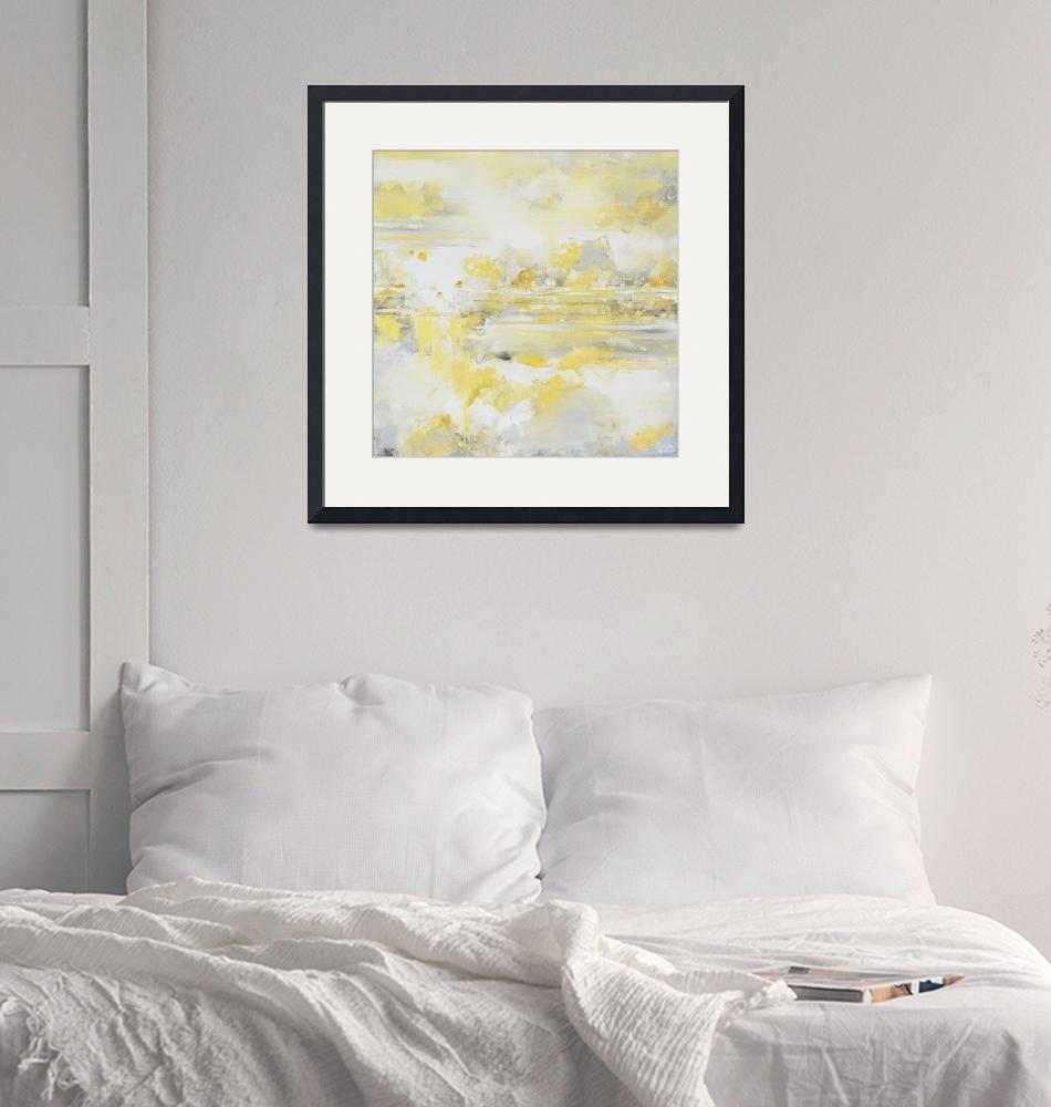 """""""""""Warm Thoughts"""" Yellow Grey Abstract""""  (2017) by ChristineBell"""